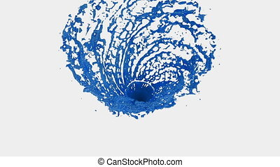 Blue Liquid tornado. Beautiful colored paint whirl. Isolated transparent vortex of liquid like whirlwind 3d animation with alpha matte. Version 6.