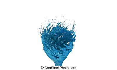 Blue Liquid tornado on white background. Beautiful colored paint is whirling. Isolated transparent vortex of liquid like car paint, 3d animation with alpha matte. Version 4