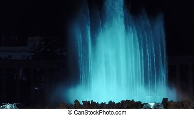 Blue lit street fountain at night, Vienna - Blue lit...