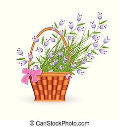 Blue little wild flowers in wicker basket with pink bow isolated on white background.