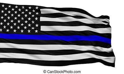 Blue Lives Matter Flag, Isolated On White Seamless Loop
