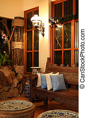 Living Room - Blue Living Room at night
