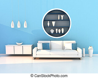 blue living room, modern room