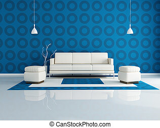 white couch and two pouf in front a geometrical wallpaper