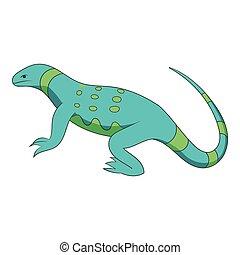 Blue lizard icon, cartoon style