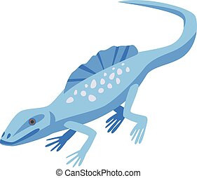Blue lizard icon, isometric style