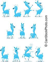 Blue Llama - Blue colored Llama character with 10 various ...