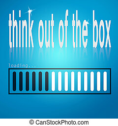 Blue loading bar with think out of the box word