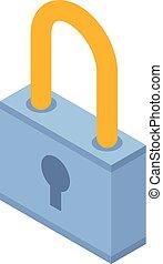 Blue lock icon, isometric style