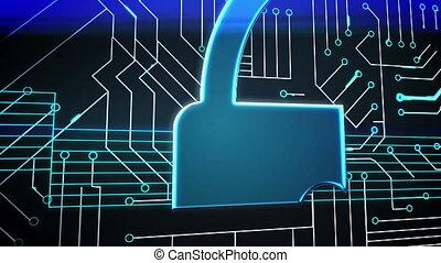Blue lock on circuit board design - Digital animation of...