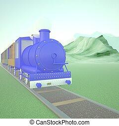 Blue locomotive of steam train