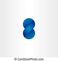 blue logo 3d effect number eight