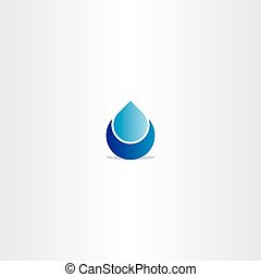 blue logo drop water icon sign