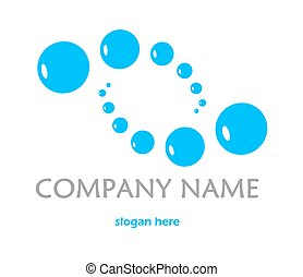 Blue logo with bubbles