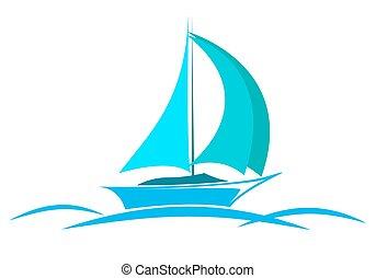 blue logo yacht on the sea