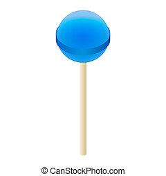 Blue lollipop icon, isometric style