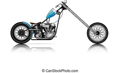 BLUE LONG CHOPPER ON WHITE BACKGROUND