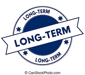 Blue LONG TERM stamp. Illustration graphic concept image