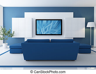 blue lounge with lcd tv - blue and white lounge with lcd tv...