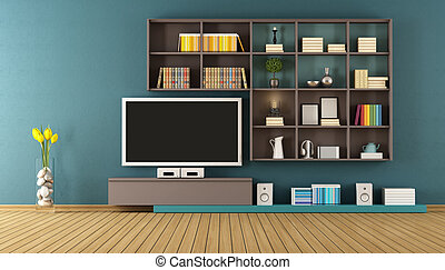 Blue lounge with wall unit - 3D Rendering