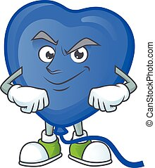 Blue love balloon mascot cartoon character style with Smirking face