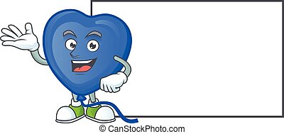 Blue love balloon with whiteboard cartoon character style