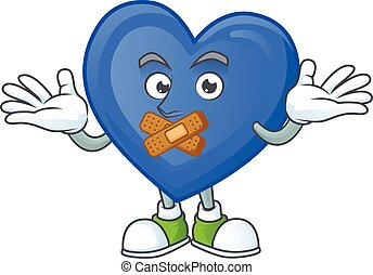 Blue love cartoon character style with silent gesture