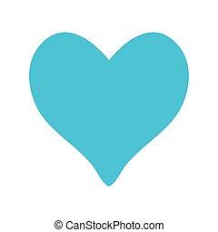 blue love heart on white background