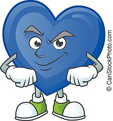 Blue love mascot cartoon character style with Smirking face