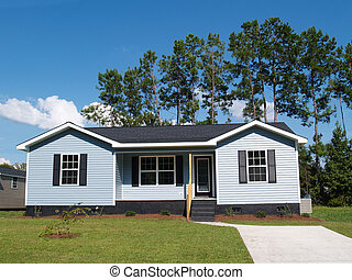 Blue Low-Income Home - Powder blue low-income single-story...