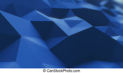 Blue Low Poly Surface Slow Moving in Looped 3d Animation. Seamless Background Concept in 4K, UHD 3840x2160.