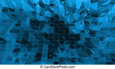 Blue low poly waving surface as glorious background. Blue...