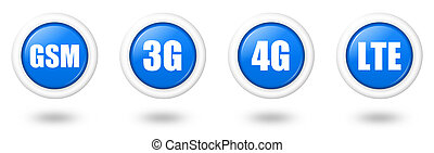 Blue LTE, 4G, 3G and GSM telecommunication icon set with...