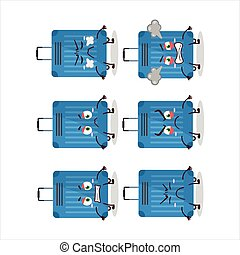 Blue lugage cartoon character with various angry expressions