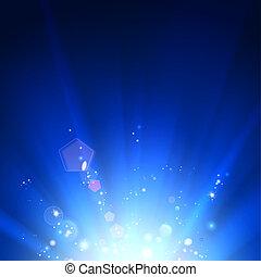 Blue luminous rays.