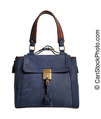 blue luxury female handbag with golden buckle isolated on white background