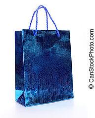 Blue luxury shopping bag on white
