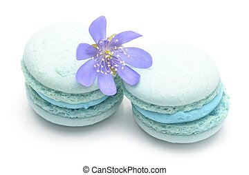 blue macarons isolated on white background