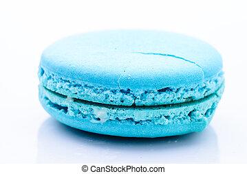 Blue macaroon isolated on white background