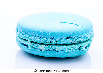 Blue macaroon isolated on white background
