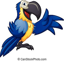 Blue macaw - Blue cartoon macaw. Vector clip art...