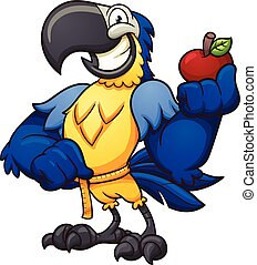Blue macaw holding an apple and measuring it's waist. Vector...