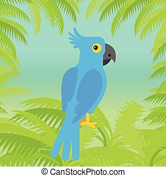 Blue Macaw Parrot Vector Flat Design Illustration