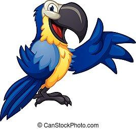 Blue macaw - Blue cartoon macaw. Vector clip art...