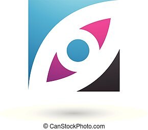 Blue Magenta and Black Eye Shaped Square Vector Illustration