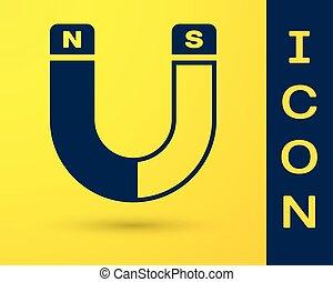 Blue Magnet icon isolated on yellow background. Horseshoe...