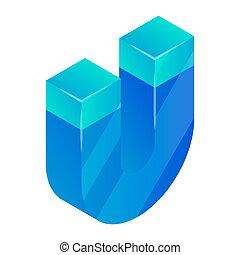 Blue magnet icon, isometric style