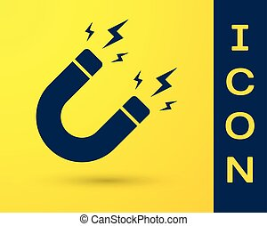 Blue Magnet with lightning icon isolated on yellow...