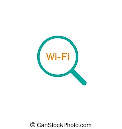 Blue Magnifier with wi-fi sign. Wi-Fi icon search. Magnifying glass icon isolated on white.
