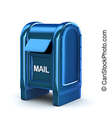 Blue mail box. 3d image. Isolated